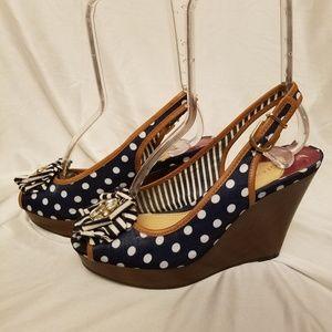 Gianni Bini 7 Polka dot wedge slingback peep toe